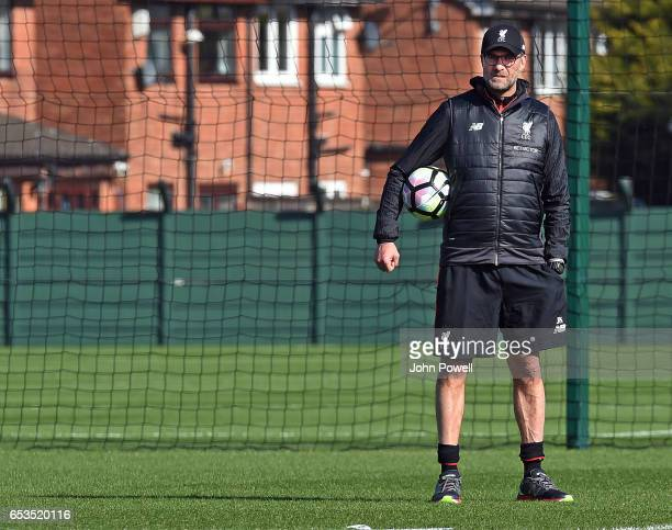 Jurgen Klopp manager of Liverpool during a training session at Melwood Training Ground on March 15 2017 in Liverpool England