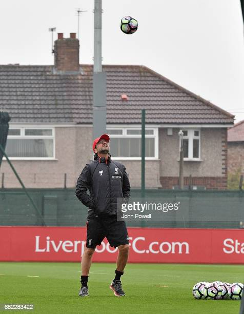 Jurgen Klopp manager of Liverpool during a training session at Melwood Training Ground on May 12, 2017 in Liverpool, England.