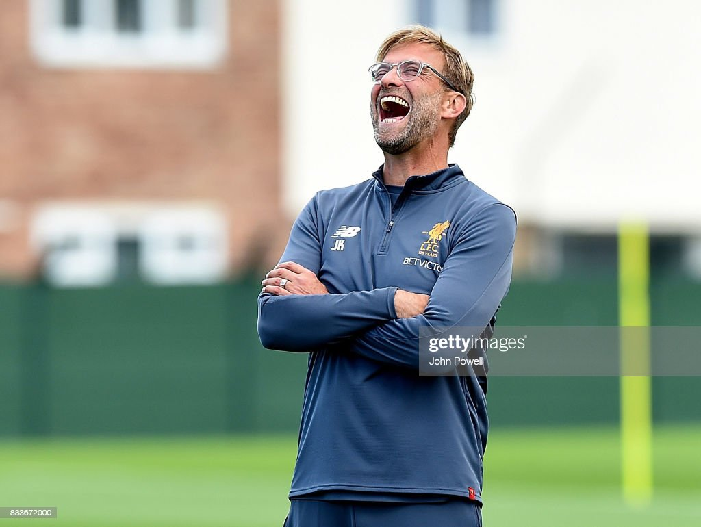 Jurgen Klopp manager of Liverpool during a training session at Melwood Training Ground on August 17, 2017 in Liverpool, England.