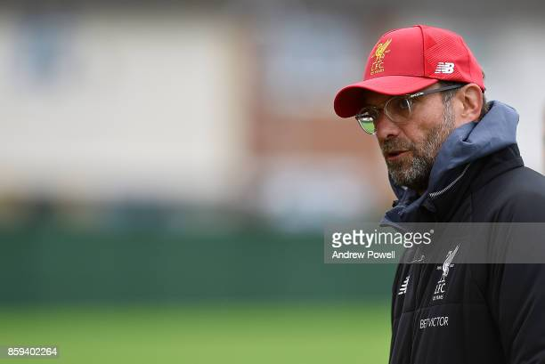 Jurgen Klopp manager of Liverpool during a training session at Melwood Training Ground on October 9 2017 in Liverpool England