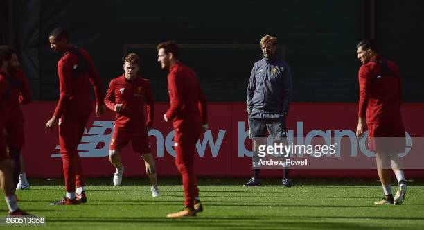 Jurgen Klopp manager of Liverpool during a training session at Melwood Training Ground on October 12 2017 in Liverpool England