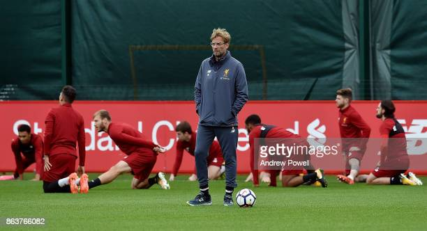 Jurgen Klopp manager of Liverpool during a training session at Melwood Training Ground on October 20 2017 in Liverpool England