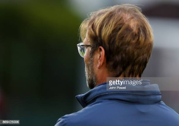 Jurgen Klopp manager of Liverpool during a training session at Melwood Training Ground on November 2 2017 in Liverpool England