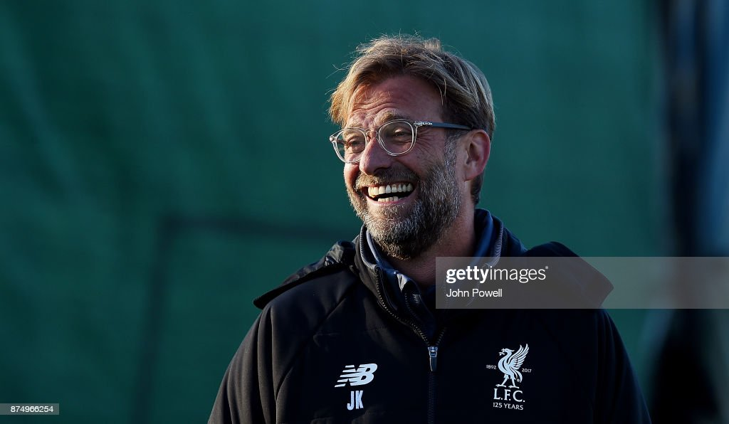 Jurgen Klopp manager of Liverpool during a training session at Melwood Training Ground on November 16, 2017 in Liverpool, England.