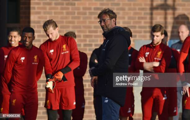 Jurgen Klopp manager of Liverpool during a training session at Melwood Training Ground on November 16 2017 in Liverpool England
