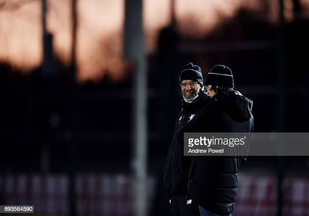 Jurgen Klopp manager of Liverpool during a training session at Melwood Training Ground on December 15 2017 in Liverpool England