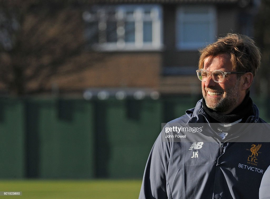 Jurgen Klopp manager of Liverpool during a training session at Melwood Training Ground on February 20, 2018 in Liverpool, England.