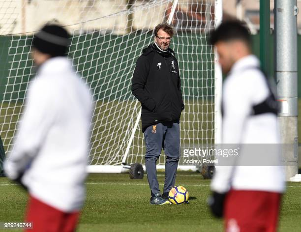 Jurgen Klopp manager of Liverpool during a training session at Melwood Training Ground on March 8 2018 in Liverpool England
