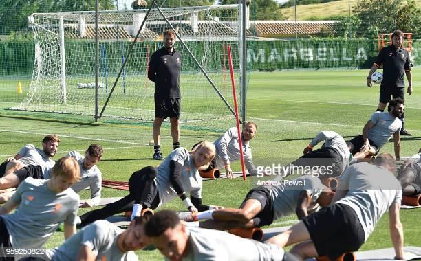 Jurgen Klopp manager of Liverpool during a training session at Marbella Football Center on May 16 2017 in San Pedro De Alcantara Spain