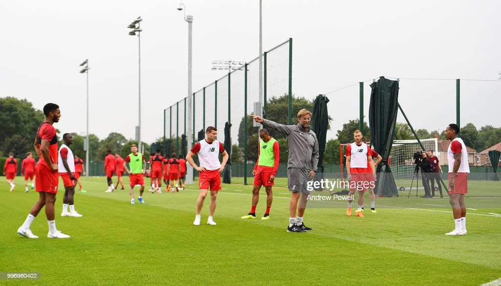 Jurgen Klopp manager of Liverpool during a training session at Melwood Training Ground on July 12, 2018 in Liverpool, England.