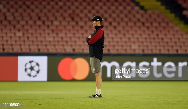 Jurgen Klopp manager of Liverpool during a training session at Stadio San Paolo on October 2 2018 in Naples Italy