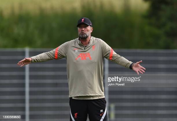 Jurgen Klopp manager of Liverpool during a training session on July 25, 2021 in UNSPECIFIED, Austria.