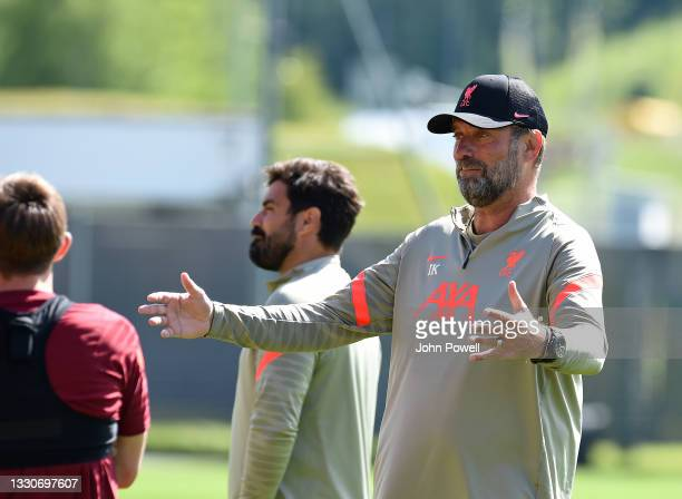 Jurgen Klopp manager of Liverpool during a training session on July 26, 2021 in UNSPECIFIED, Austria.