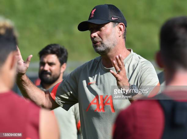 Jurgen Klopp manager of Liverpool during a training session on July 27, 2021 in UNSPECIFIED, Austria.