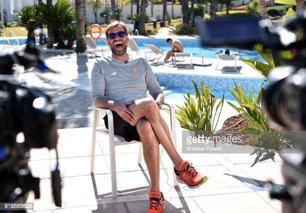 Jurgen Klopp manager of Liverpool during an interview after a training session at Marbella Football Center on February 17 2018 in Marbella Spain