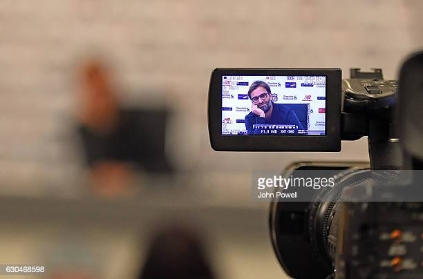 Jurgen Klopp Manager of Liverpool during his press conference at Melwood Training Ground on December 23 2016 in Liverpool England