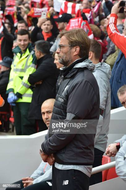 Jurgen Klopp Manager of Liverpool during Ronnie Moran Silence the Premier League match between Liverpool and Everton at Anfield on April 1, 2017 in...