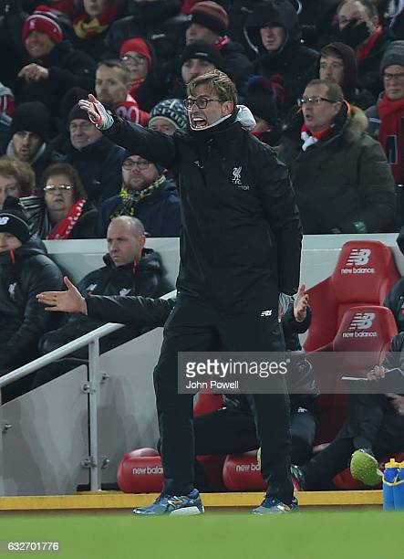 Jurgen Klopp Manager of Liverpool during the EFL Cup SemiFinal second leg match between Liverpool and Southampton at Anfield on January 25 2017 in...