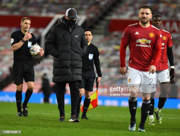 Jurgen Klopp manager of Liverpool during The Emirates FA Cup Fourth Round match between Manchester United and Liverpool at Old Trafford on January...