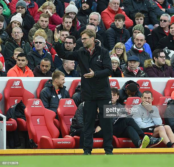 Jurgen Klopp Manager of Liverpool during the Emirates FA Cup Third Round match between Liverpool and Plymouth Argyle at Anfield on January 8 2017 in...