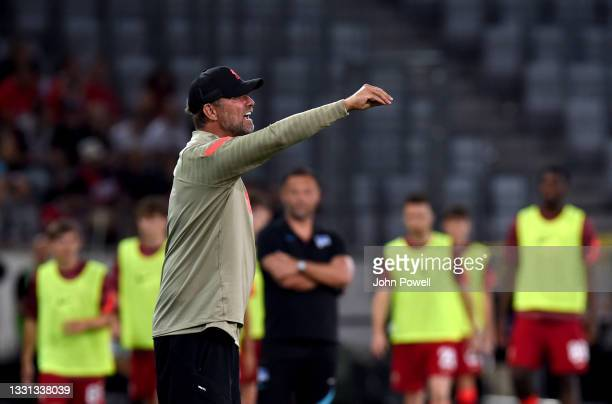 Jurgen Klopp manager of Liverpool during the Pre Season match between Hertha BSC and Liverpool at Tivoli Stadion Tirol on July 29, 2021 in Innsbruck,...