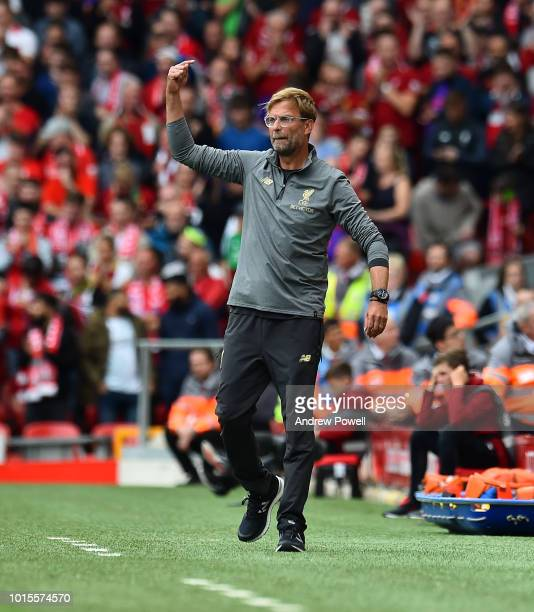 Jurgen Klopp manager of Liverpool during the Premier League match between Liverpool FC and West Ham United at Anfield on August 12 2018 in Liverpool...