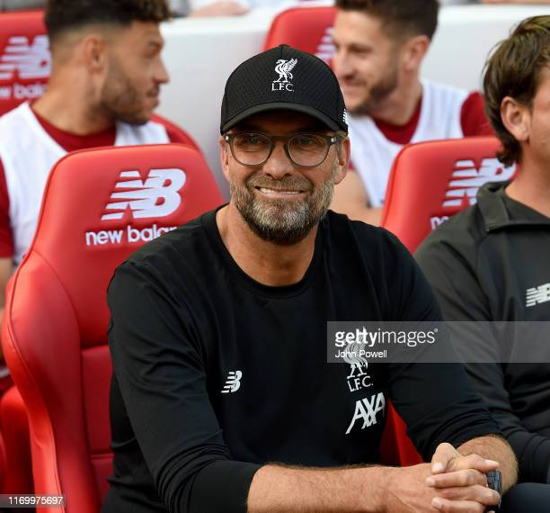 Jurgen Klopp manager of Liverpool during the Premier League match between Liverpool FC and Arsenal FC at Anfield on August 24 2019 in Liverpool...