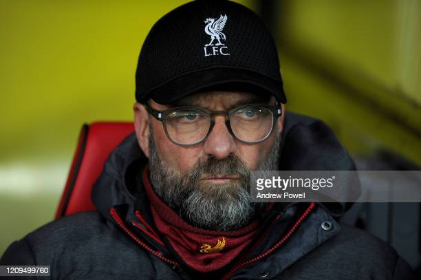 Jurgen Klopp manager of Liverpool during the Premier League match between Watford FC and Liverpool FC at Vicarage Road on February 29 2020 in Watford...