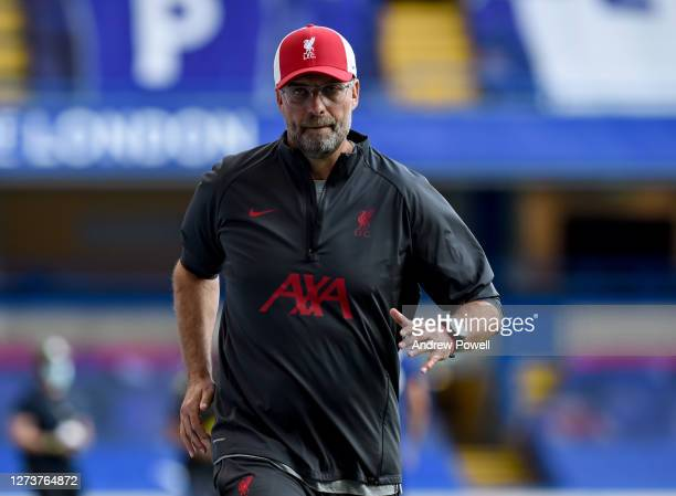 Jurgen Klopp manager of Liverpool during the Premier League match between Chelsea and Liverpool at Stamford Bridge on September 20 2020 in London...