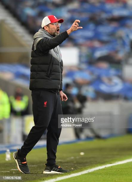 Jurgen Klopp manager of Liverpool during the Premier League match between Brighton & Hove Albion and Liverpool at American Express Community Stadium...