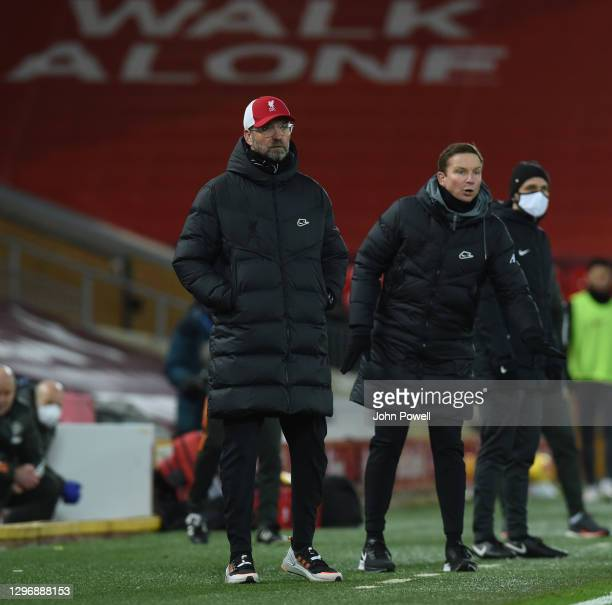 Jurgen Klopp manager of Liverpool during the Premier League match between Liverpool and Manchester United at Anfield on January 17, 2021 in...