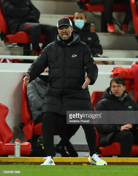 Jurgen Klopp manager of Liverpool during the Premier League match between Liverpool and Chelsea at Anfield on March 04, 2021 in Liverpool, England....