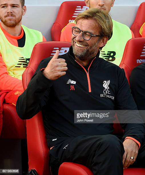 Jurgen Klopp manager of Liverpool during the Premier League match between Liverpool and Leicester City at Anfield on September 10 2016 in Liverpool...