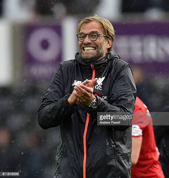 Jurgen Klopp manager of Liverpool during the Premier League match between Swansea City and Liverpool at Liberty Stadium on October 1 2016 in Swansea...