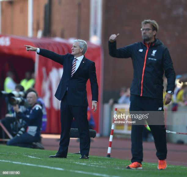 Jurgen KLopp Manager of Liverpool during the Premier League match between Stoke City and Liverpool at Bet365 Stadium on April 8 2017 in Stoke on...
