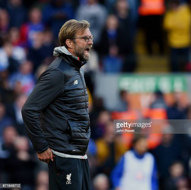 Jurgen Klopp manager of Liverpool during the Premier League match between Liverpool and Crystal Palace at Anfield on April 23 2017 in Liverpool...