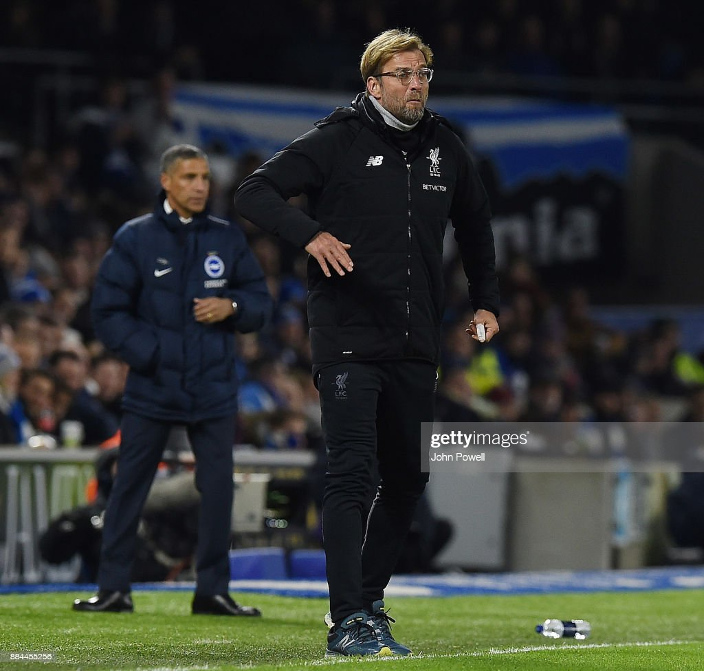 Jurgen Klopp Manager of Liverpool during the Premier League match between Brighton and Hove Albion and Liverpool at Amex Stadium on December 2, 2017 in Brighton, England.