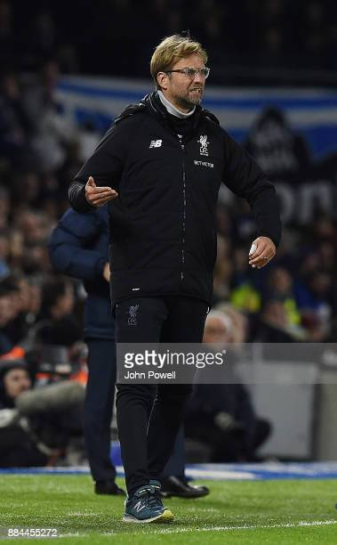 Jurgen Klopp Manager of Liverpool during the Premier League match between Brighton and Hove Albion and Liverpool at Amex Stadium on December 2 2017...