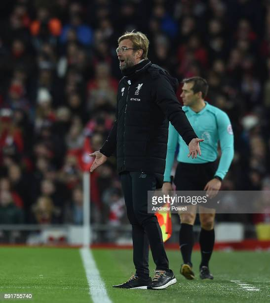 Jurgen Klopp Manager of Liverpool during the Premier League match between Liverpool and West Bromwich Albion at Anfield on December 13 2017 in...