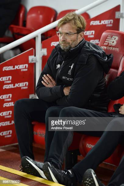 Jurgen KLopp Manager of Liverpool during the Premier League match between Liverpool and Swansea City at Anfield on December 26 2017 in Liverpool...