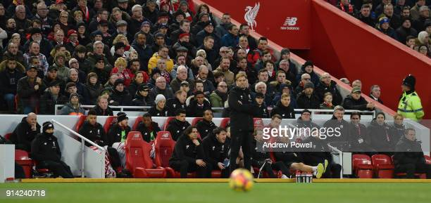 Jurgen Klopp manager of Liverpool during the Premier League match between Liverpool and Tottenham Hotspur at Anfield on February 4 2018 in Liverpool...