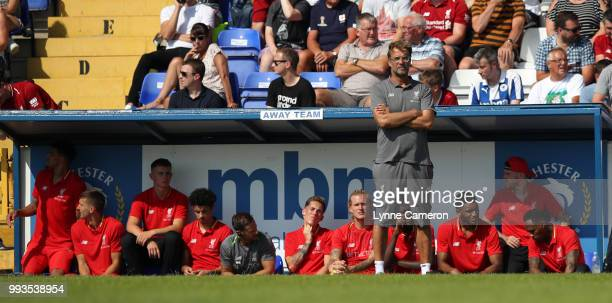 Jurgen Klopp manager of Liverpool during the Preseason friendly between Chester FC and Liverpool on July 7 2018 in Chester United Kingdom