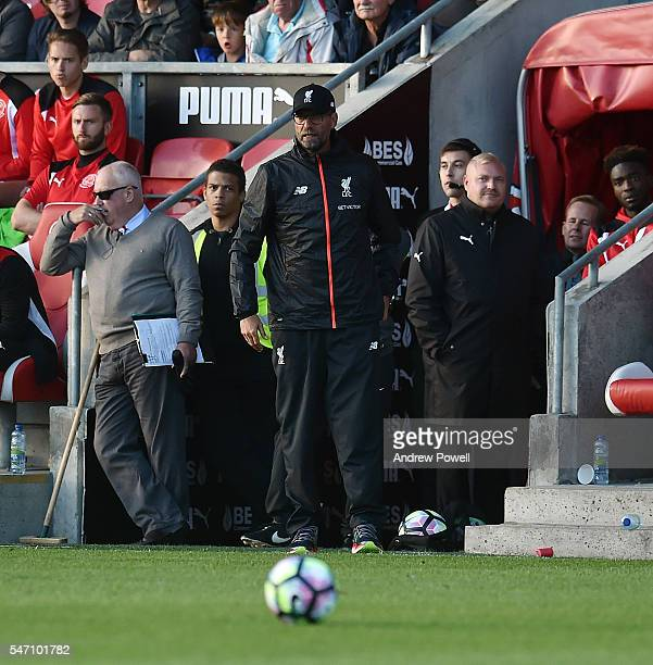 Jurgen Klopp manager of Liverpool during the PreSeason Friendly match bewteen Fleetwood Town and Liverpool at Highbury Stadium on July 13 2016 in...