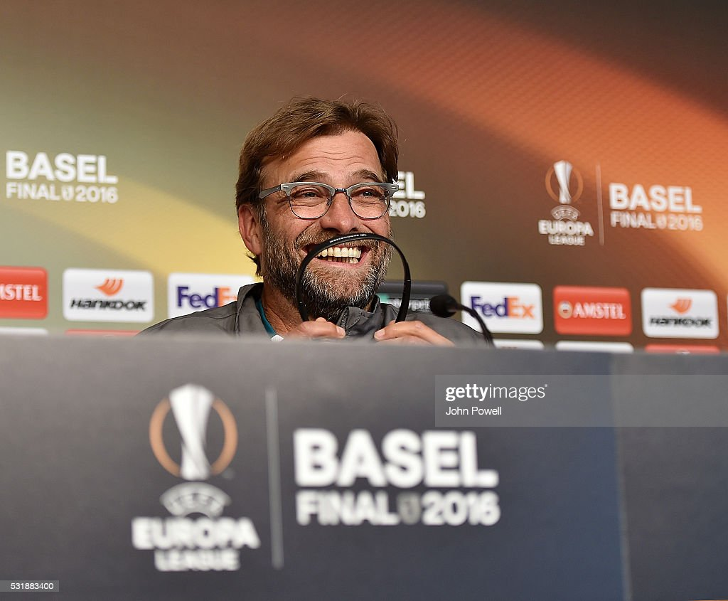 Jurgen Klopp manager of Liverpool during the Press Conference ahead of the UEFA Europa League Final at St. Jakob-Park on May 17, 2016 in Basel, Switzerland.