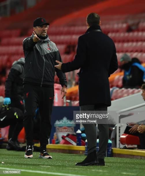Jurgen Klopp manager of Liverpool during the UEFA Champions League Group D stage match between Liverpool FC and FC Midtjylland at Anfield on October...