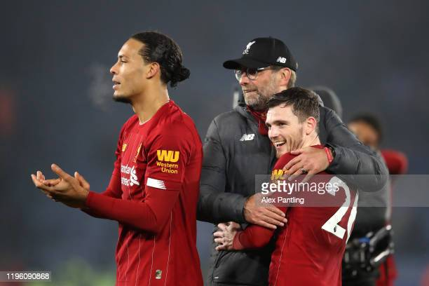 Jurgen Klopp Manager of Liverpool embraces Andy Robertson of Liverpool after the Premier League match between Leicester City and Liverpool FC at The...