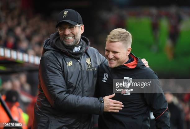 Jurgen Klopp Manager of Liverpool embraces with Eddie Howe Manager of AFC Bournemouth prior to the Premier League match between AFC Bournemouth and...