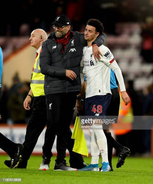 Jurgen Klopp manager of Liverpool embracing Curtis Jones at the end of the Premier League match between AFC Bournemouth and Liverpool FC at Vitality...