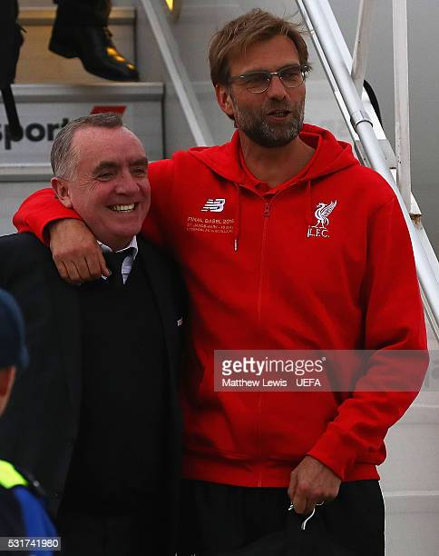 Jurgen Klopp, manager of Liverpool FC and Ian Ayre, Liverpool FC CEO arrive at Basel airport ahead of the UEFA Europa League Final on May 16, 2016 in...