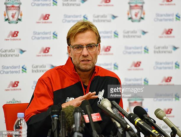 Jurgen Klopp manager of Liverpool FC during a press conference at Melwood Training Ground on October 15 2015 in Liverpool England
